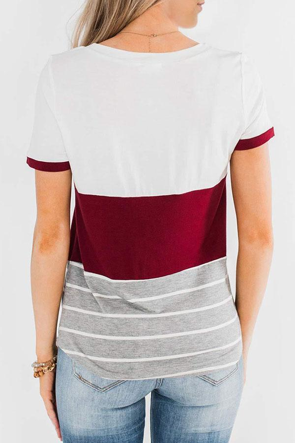 Color-block Striped Casual Short Sleeve T-shirt