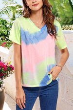 V-neck Paneled Gradient Print Casual T-shirt