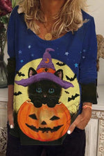 Halloween Wizard Black Cat Pumpkin Bat Star Moon Print T-shirt