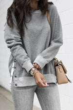 Casual Slit Side Button Long Sleeves Sweatshirts