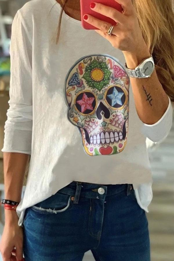 Paneled Skull Print Crew Neck Casual T-shirt