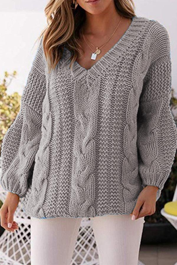 Casual Solid Hollow Out Balloon Sleeves Sweater
