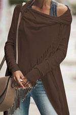Long Sleeves Irregular Tassel Coat