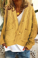 Solid Ribbed Horn Buckle Pockets Cardigans