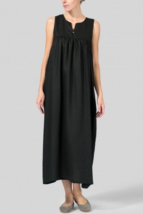 Paneled Solid Pleated V-neck Casual Maxi Dress