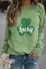 Green Plaid Clover Lucky Symbol Letter Print Basic Women T-shirt