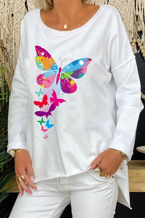 Casual Colorful Butterfly Print Paneled High Low Crew Neck Long Sleeves T-shirt