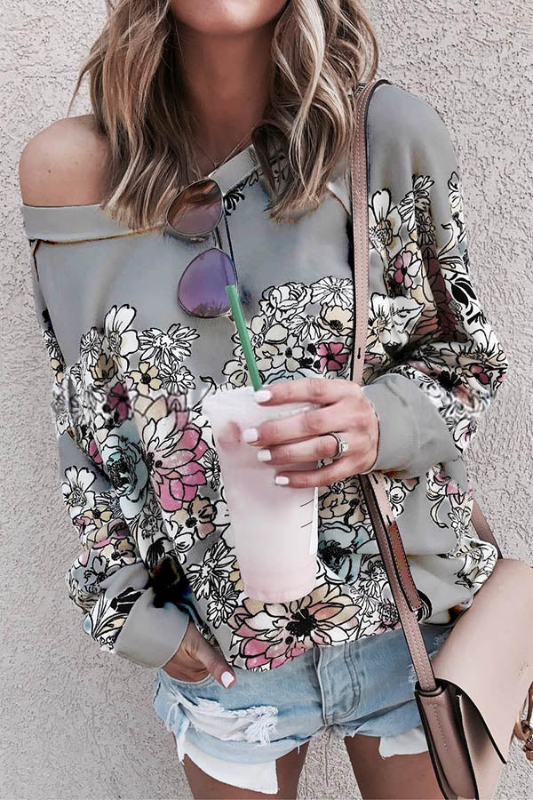 Floral Print Paneled Crew Neck Long Sleeves Casual Sweatshirt