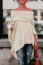 Off Shoulder Batwing Asymmetric Casual Top