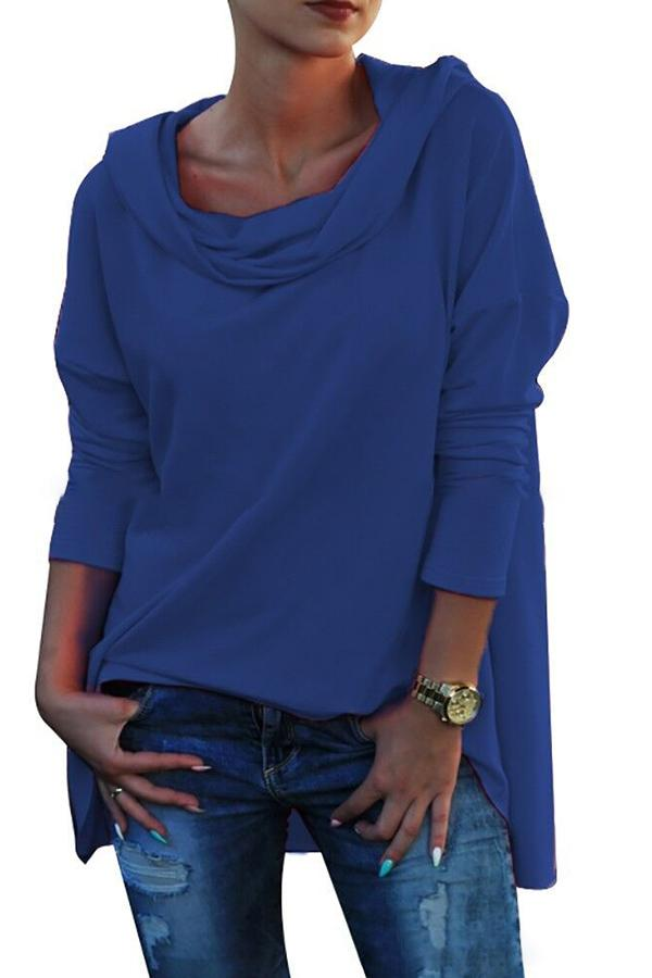 Plus Size Solid Roll Neck Hoodie