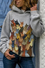 Cartoon Cat With Different Gradient Colors Print Casual Hoodie