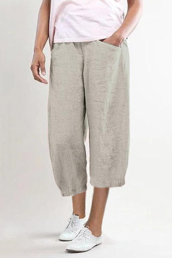 Casual Shift Linen Pockets Wide Leg Solid Pants