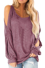Cold Shoulder Cutout Long Sleeves Sweaters