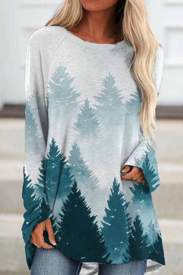 Casual Gradient Landscape Forest Mountain Jacquard T-shirt