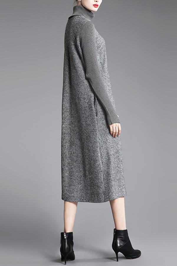 Solid Paneled Turtleneck Casual Sweater Dress