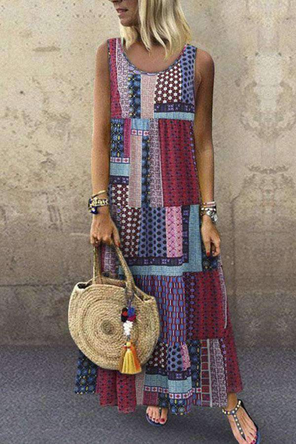Bohemian Splicing Cotton Sleeveless Maxi Dress