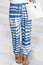 Holiday Striped Gradient Print Self-tie Pockets Pants
