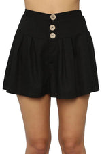 Solid Paneled Buttoned Casual Short Pants