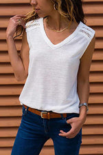 Solid Paneled Lace Cutout V-neck Sleeveless T-shirt