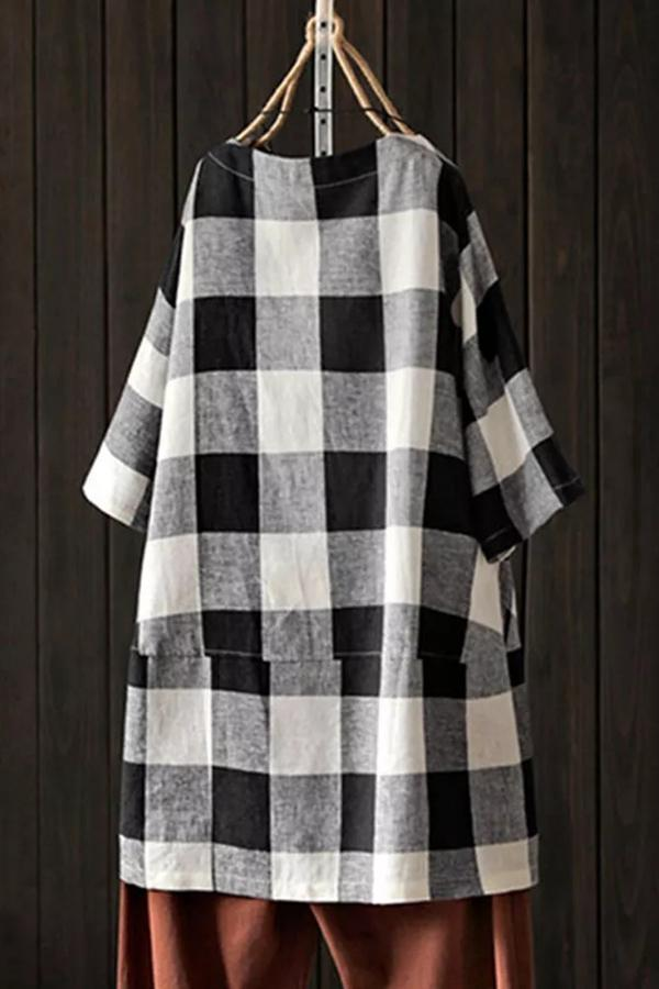 Plaid Paneled Half Sleeves Loose T-shirts