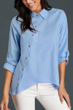 Casual Solid Polo Button Long Sleeves Shirt