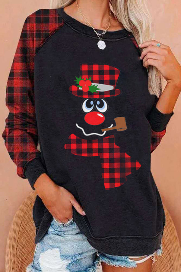 Cartoon Character With Plaid Hat And Scarf Print Color-block Raglan Sleeves T-shirt