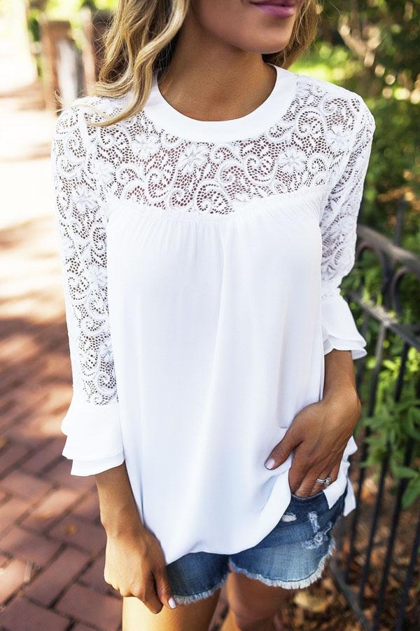 Lace Hollow Out Chiffon Blouse