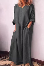 Solid Pockets Long Sleeve Linen Maxi Dress