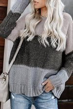 Women Striped Jacquard Color-block Knitted Ribbed Holiday Sweater