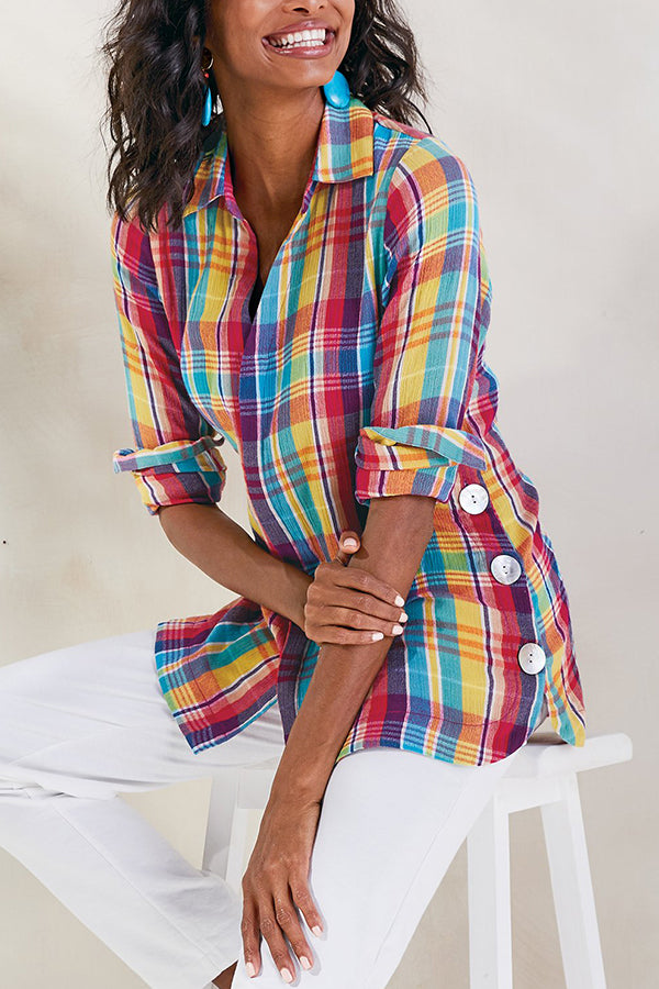Colorful Plaid Print Buttons Down Holiday Slit Blouse