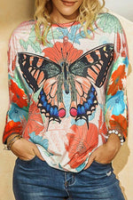 Lifelike Butterfly In The Floral Bush Print Holiday T-shirt