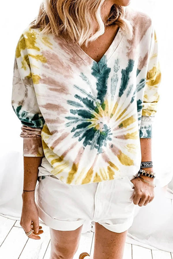 Street Lively Swirl Gradient Print Paneled V-neck Long Sleeves T-shirt