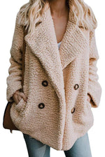 Lapel Buttoned Fashion Woolen Coat
