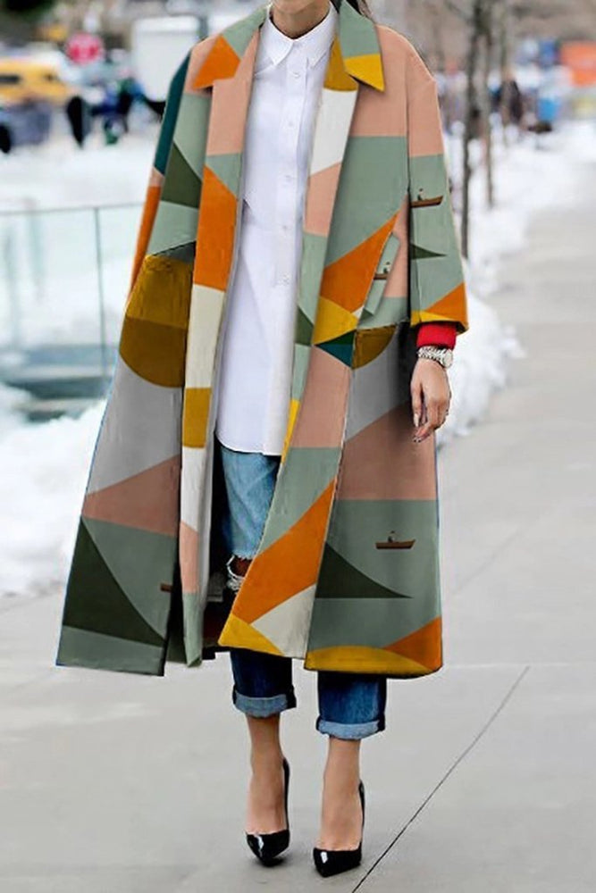 Geometric Print Longline Winter Coat