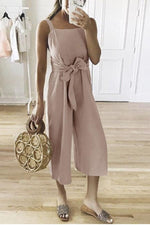 Linen Self-tie Waist Sleeveless Casual Jumpsuit
