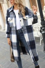 Street Holiday Plaid Jacquard Buttons Down Pockets Long Coat