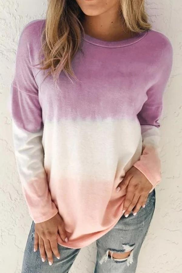 Casual Gradient Long Sleeves Crew Neck T-shirts
