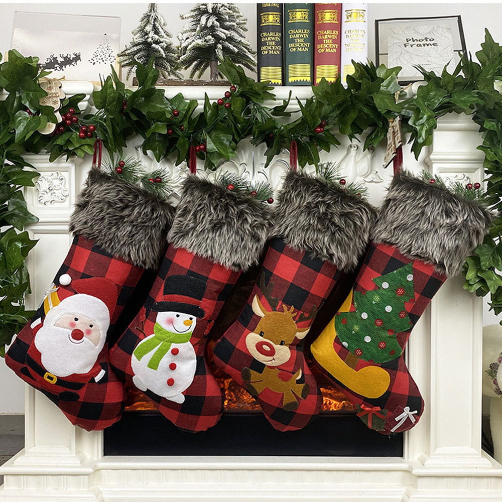 Christmas Santa Claus Tree Snowman Elk Gift Embroidery Plaid Print Fuzzy Decoration Socks