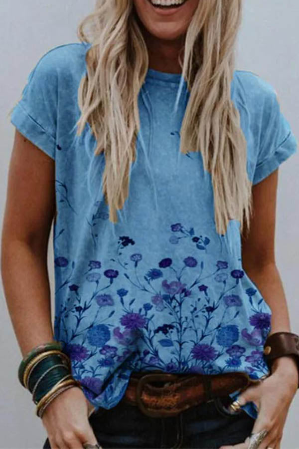 Casual Floral Print Crew Neck Paneled Short Sleeves T-shirt