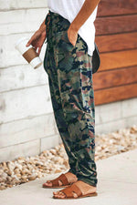 Camouflage Print Kordelzug Taille Casual Pants