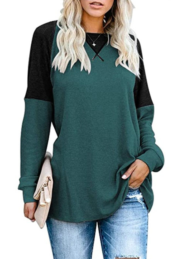 Color-block Paneled Solid Casual Crew Neck Sweatshirt