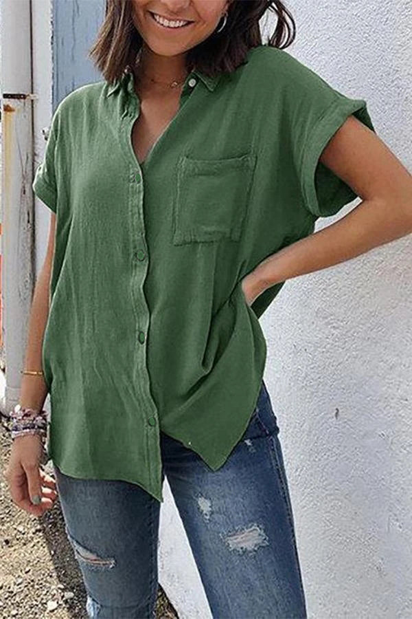 Pockets Short Sleeve Buttoned Cotton Blouses