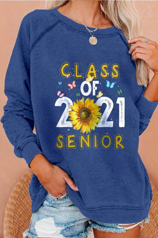 Cartoon Letter Class Of 2021 Senior Sunflower Colorful Butterfly Print Raglan Sleeves T-shirt