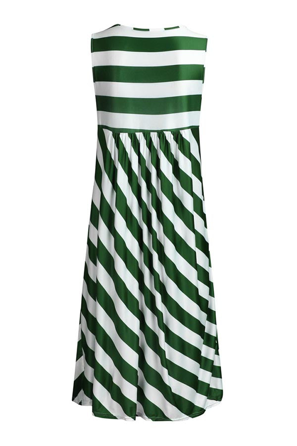 Casual  Striped Print Sleeveless Midi Dress