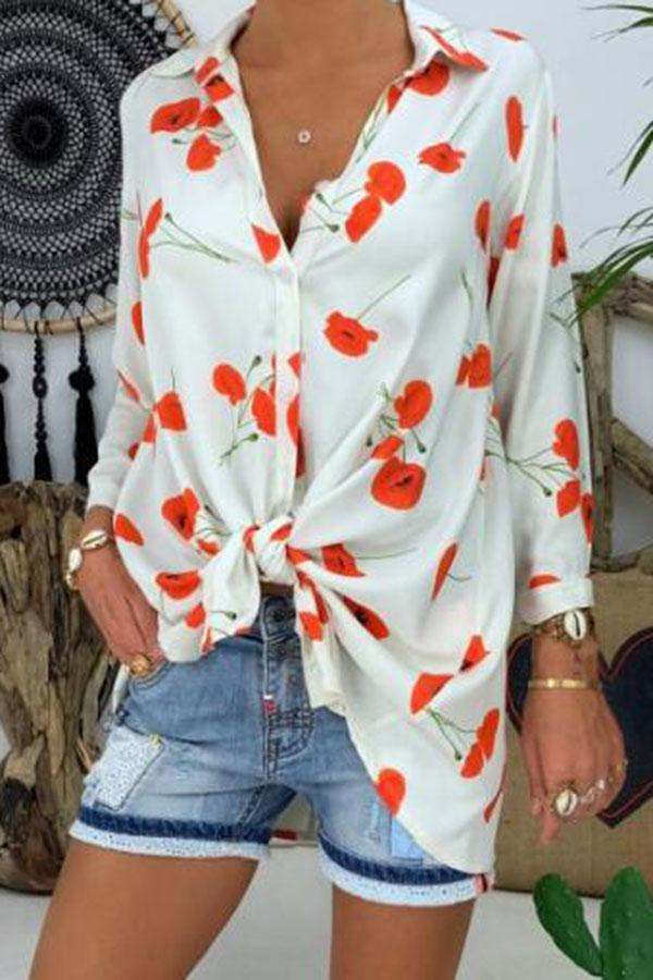 Floral Print Button Down Shirt Collar Casual Shirt
