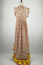 Bohemian Floral Print Paneled High Low Maxi Dress