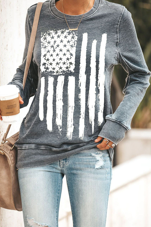 Casual America Flag Print Crew Neck Women Long Sleeves T-shirt
