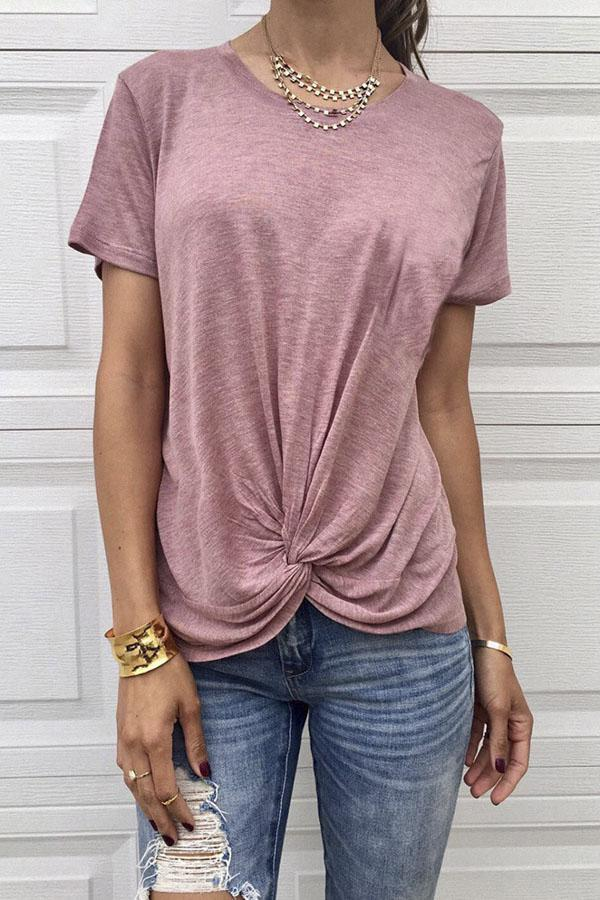 Solid Casual Twist Front T-shirt