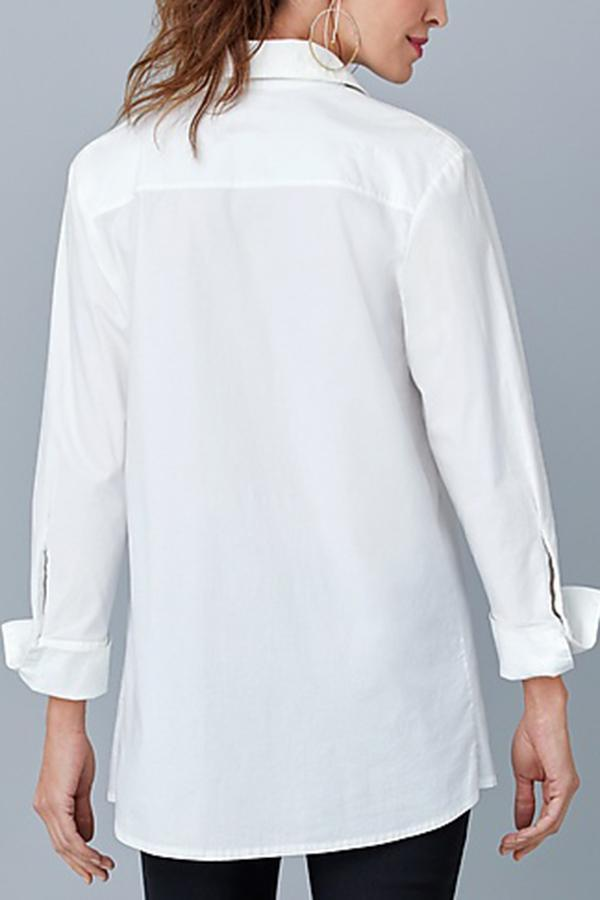 Shirt Collar Buttons Down Curved Hem T-shirt