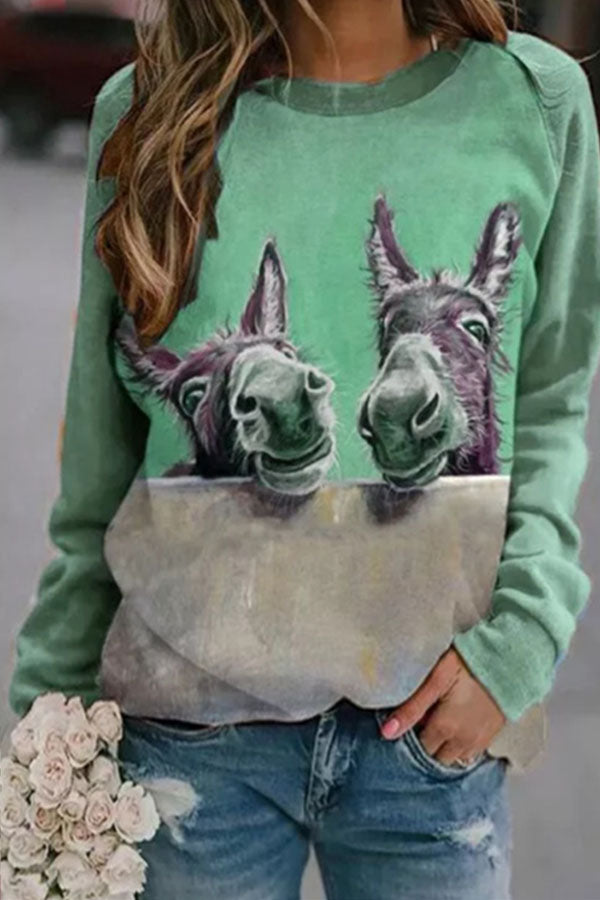 Two Funny Lifelike Donkey Print Color-block Cartoon T-shirt